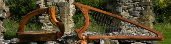 two of my harps at Reivaulx Abbey